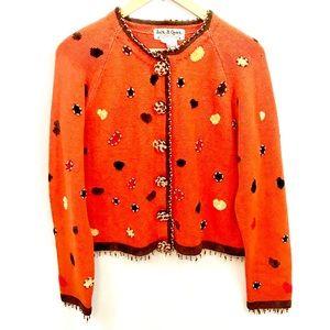 Halloween beaded fringe cardigan teacher sweater L